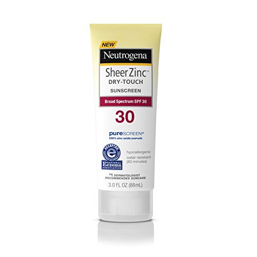 Neutrogena Sheer Zinc Oxide Dry-Touch Sunscreen Lotion with Broad Spectrum SPF 30, Water-Resistant, Hypoallergenic &...