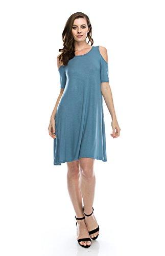 NELLY Plus Size Open Shoulder Tunic Shift Dress Blue Swing Top Flowy Short Sleeve - 1X (Plus Size Fairy Dress)