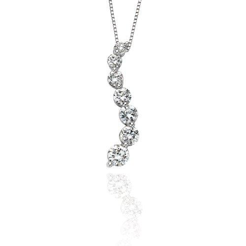 Diamond Journey Curve Necklace (14K White Gold 2 ct. Diamond