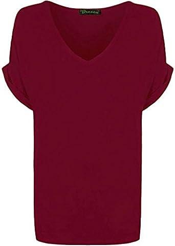 Angy - Camiseta de manga corta para mujer, diseño de cuello en V, cuello en V, manga corta, talla 8-26 granate 48-50
