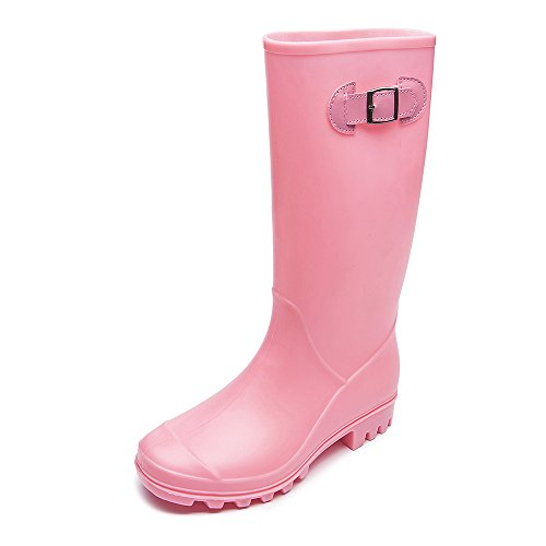 DKSUKO Womens Wellington Boots Mid-Calf Waterproof Field Rain Boots with Buckle Adjustable-Strap Outdoor Ladies Work Boots Women UK 3-8 Pink