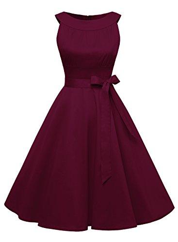Vintage Y Sencillo Burgundy Mujer Vestido Timormode Elegante Sólido Rockabilly Fiesta Color B5xZq7w