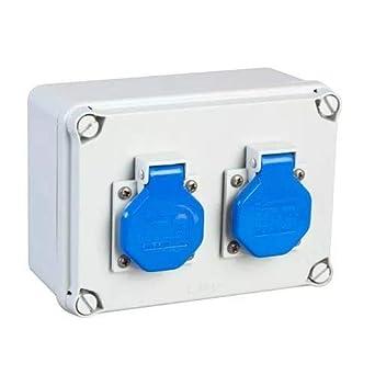 IDE 41493 Caja Estanca de Derivación con Bases Montadas y Cableadas, Laterales Lisos, 2x(IP44 2P+TT 16A 220V), Gris, 162mm x 116mm x 76mm: Amazon.es: Industria, empresas y ciencia