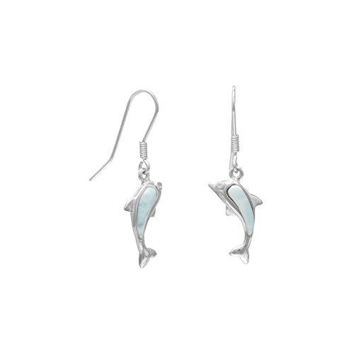 ch Wire Dolphin Earrings Larimar Body Cubic Zirconia Eyes (Dolphin French Wire Earrings)