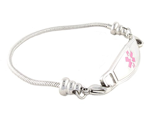 N Style ID Women's Beaded Pan-dorra Style PRE-ENGRAVED ''Lymphedema Alert Left Arm'' Medical Id Bracelet - Pink 7.25 by N-Style ID