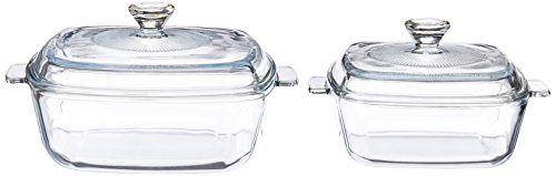 Uniware Super Quality Tempered Glass Casserole with Glass Lid, Set of 2, Clear (Square (1.6 Qt + 0.85 Qt))