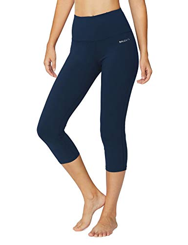 Baleaf Women's High Waist Yoga Capri Leggings Tummy Control Non See-Through Fabric Denim Blue Size XL ()