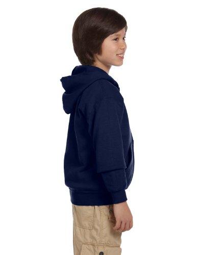 Gildan Big Boys Blend Full Zip Hooded Pocket Sweatshirt, Navy, Medium