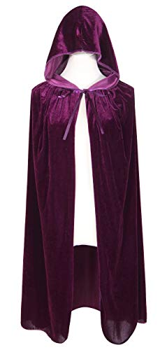 BIGXIAN Kids Hooded Velvet Cloak Halloween Christmas Fancy Cape for Kids (Purple)