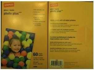 "2 packs Staples Photo Plus Gloss Paper, 4"" x 6"", 60 Sheets"