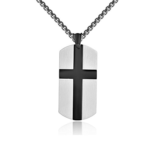 Godcow MATTHEW 6:9 Mens English Lord's Prayer Cross Dog Tag Necklace Stainless Steel Pendant, Chain 22