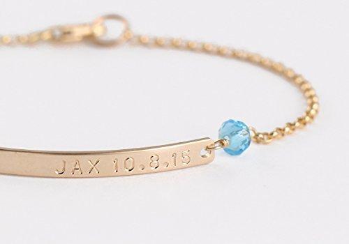 14k Gold Skinny Nameplate Bracelet with Diamond CZ or Gemstone Birthstone