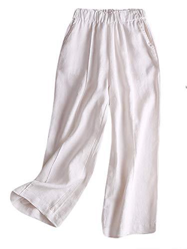 Icegrey Large Femme Grande Pantalon Jambe Palazzo Blanc Élastique Taille 0dnr07xqa6