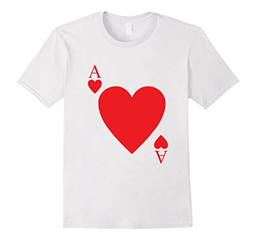 Hallowwen Costumes (Mens Hallowwen Ace Of Heart T shirts, Halloween Costume Medium White)