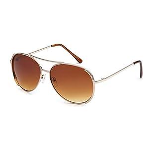 Eason Eyewear Women's Metal Aviator Sunglasses Retro Style 58 mm Gold/Brown