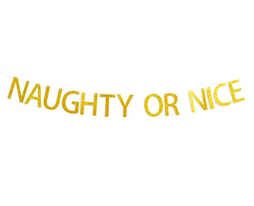 Qttier(TM Naughty or Nice Gold Glitter Christmas Banner Decoration, Christmas Party Banner, Holiday Banner