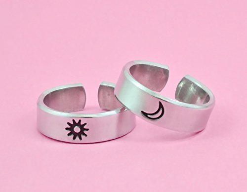 Sun Moon Symbol Rings - Hand Stamped Aluminum Cuff Rings Set of 2, Lovers Couples Girlfriend Boyfriend Valentine's Day Gift, Sisters Best Friends BFF Friendship Gift