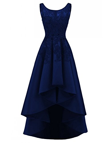 Satin Beading - LOVING HOUSE Women's Beading Lace Wedding Party Dress Hi-lo Satin Prom Dress Evening Gowns Formal P019 Navy Blue 6
