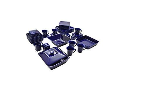 Nova 45 Piece Square Dish Set Cobalt