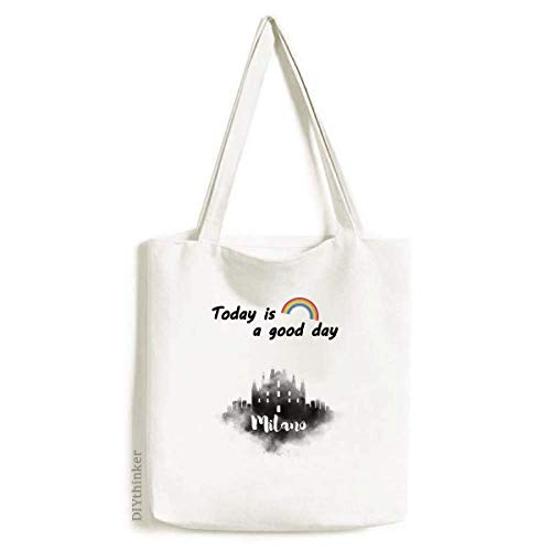 Milano Italy Landmark Ink City Painting Tote Canvas Bag Craft Washable Fashion Shopping Handbag