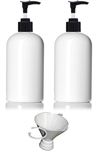 Earth's Essentials (2 Pack) 16 Ounce Refillable White PET Plastic Pump Bottles with Screw-On Funnel. Excellent Soap Dispensers. Great for Dispensing Lotions, Shampoos, Massage Oils and more!. - White Lotion Pump