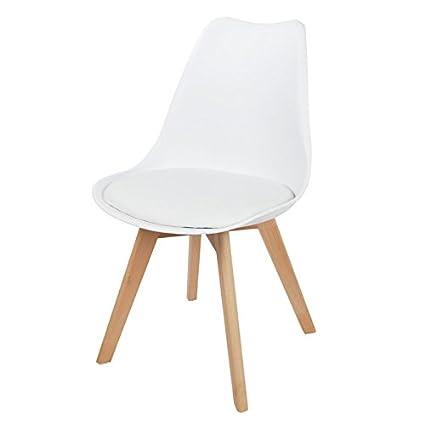 Schalenstuhl weiß Esszimmerstuhl gepolstert Retro Sessel Küchenstuhl Schalensitz