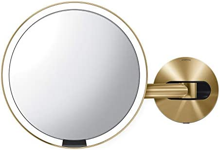 simplehuman Sensor Lighted Makeup Vanity Mirror 8 Round Wall Mount, 5X Magnification, Hard-Wired 100-240v , Brass Stainless Steel
