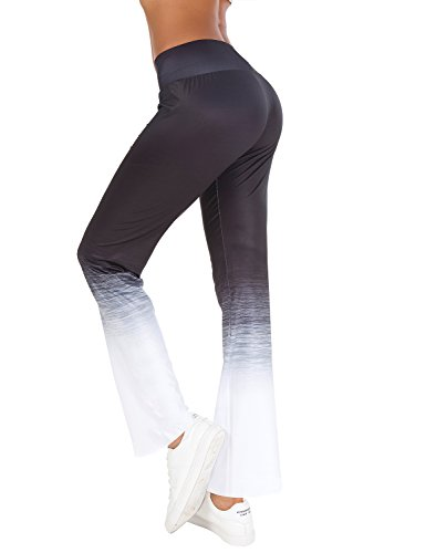 womens high waist wide leg long palazzo bell bottom yoga pants(L, Black White)