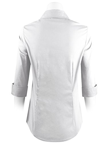 ELF FASHION Roll up 3/4 Sleeve Button Down Shirt for Womens Made in USA (Size S~3XL) White 3XL by ELF FASHION (Image #2)