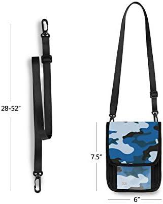 トラベルウォレット ミニ ネックポーチトラベルポーチ ポータブル ブルーカモフラージュ 小さな財布 斜めのパッケージ 首ひも調節可能 ネックポーチ スキミング防止 男女兼用 トラベルポーチ カードケース