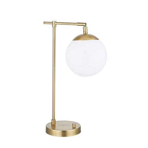 Rivet Modern White Globe Living Room Table Desk Lamp with Integrated LED Light and Opal Glass Shade- 18.75 x 11 x 59.25 Inches, Gold ()