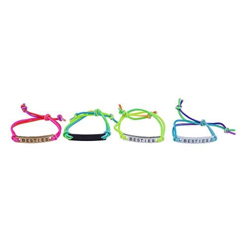 Lux Accessories Gay Pride Rainbow Corded Besties Best Friends Forever ID Bracelet Set 4PC