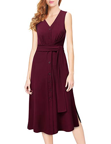Furnex Knitted Dresses for Women, Womens Dresses Summer Casual Loose Fit and Flare Dress V-Neck Button Basic Belted Dress for Business Work(Large,Wine)