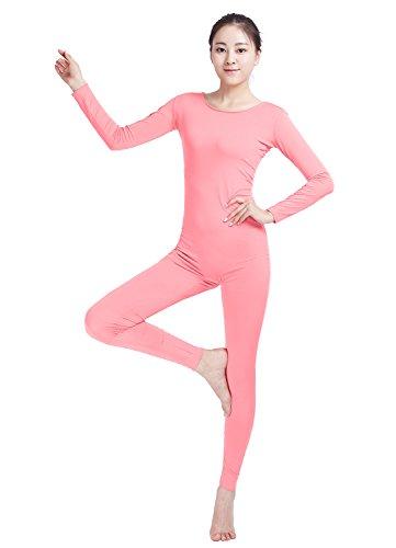 [Ensnovo Womens Spandex Bodysuit Long Sleeve Scoop Neckline Footless Unitard Pink,M] (Pink Spandex Bodysuit)