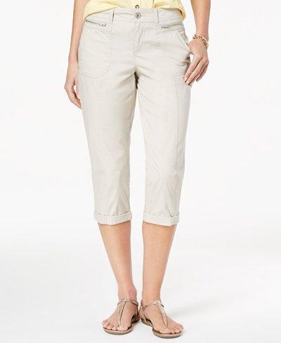 (Style & Co. Petite Tummy-Control Cuffed Capri Jeans Size 10/P)