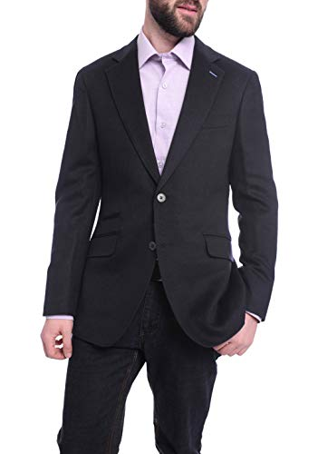 Napoli Slim Fit Solid Navy Flannel Half Canvassed Wool Silk Cashmere Sportcoat