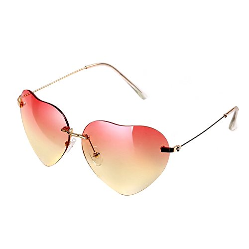 Fashion women heart shaped Style Metal Frame Sunglasses Eyewear,Red and - Glasses Express Polar Kid
