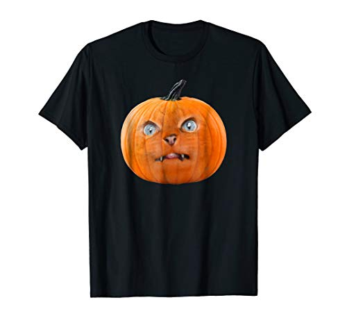 Cat Face Pumpkin Halloween Trick or Treat Shirt