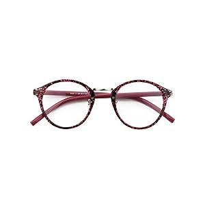 Happy Store CN65 Vintage Inspired Horned Rim Metal Bridge P3 UV400 Clear Lens Glasses,Purple Spot