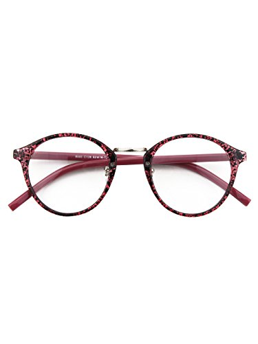 Happy Store CN65 Vintage Inspired Horned Rim Metal Bridge P3 UV400 Clear Lens Glasses,Purple - Discount Glasses Lenses