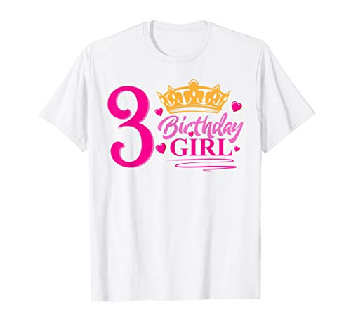 Queen 3rd Birthday Girl Shirt Party 3 Years Old Bday
