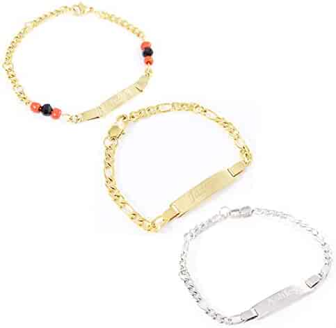 d10b1569e0b Tina&Co Personalized 14K Gold Plated Baby Name Bracelet Custom Bracelets  for Kids Id Protection Bracelet Baptism