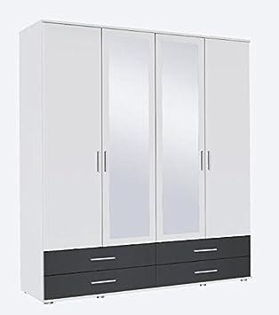 hot sale online e575c dea61 Rasant Rauch 4 Door 2 Mirror Hinged Wardrobe With 4 Drawers in an Alpine  White & Metallic Grey Matte Finish