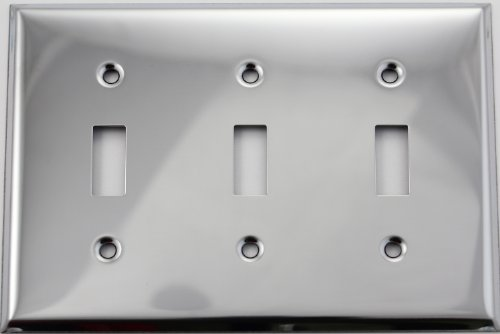 Polished Chrome Three Gang Toggle Switch Wall (Chrome Toggle Wall Plate)