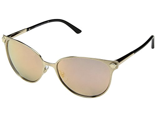 Versace Women's VE2168 Brushed Pale Gold/Grey Mirror Rose Gold One - Rose Versace