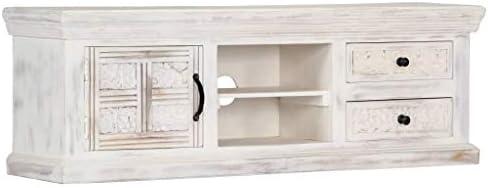 Festnight Mueble para TV Blanco 120 x 30 x 40 cm Madera Maciza de Mango con 1 Puerta, 2 cajones y 2 Compartimentos: Amazon.es: Hogar