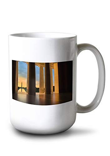 Lantern Press Washington, DC - Washington Monument from The Lincoln Memorial at Sunrise - Photography A-93376 (15oz White Ceramic Mug)