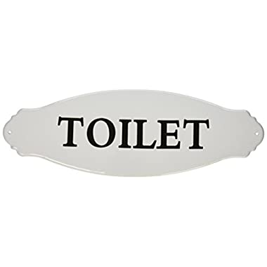 Creative Co-Op Enameled Metal Toilet Sign, White