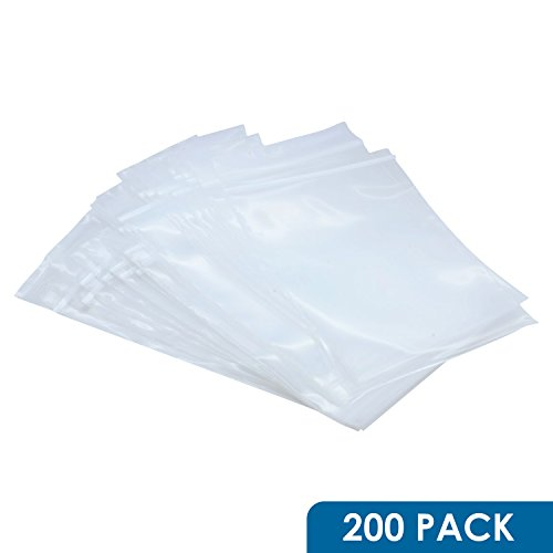 Rok Hardware Pack of 200 Heavy Duty 4'' x 6'' Resealable 4Mil Thick Plastic Small Clear Poly Zip Food Safe Storage Bags by Rok