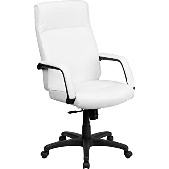 Amazon.com: Flash Furniture High Back White Leather Executive ...